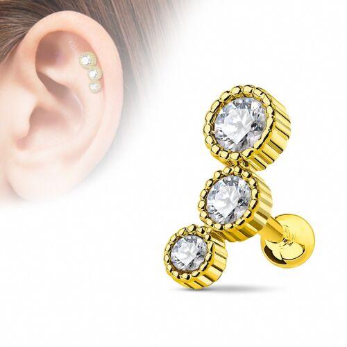 Helix Piercing Ohrstecker Edelstahl 3 Kristalle Barbell rosegold silber gold