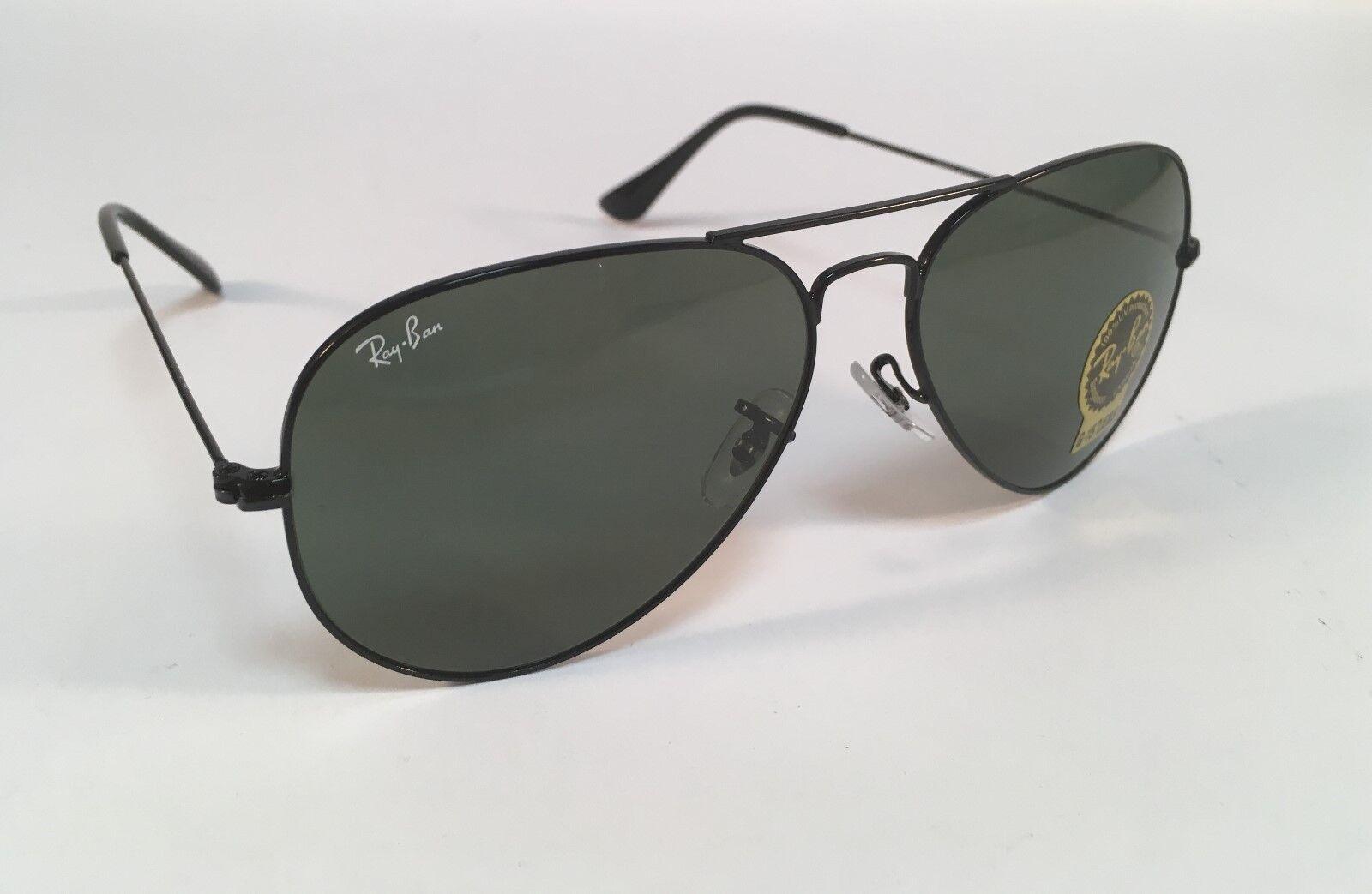 922013d5407 Ray-Ban Aviator RB3025 L2823 58mm Green Lens Black Frame Sunglasses ...