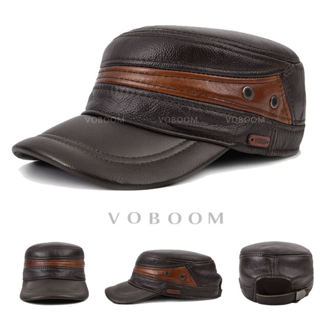 New Mens Genuine Leather Military Cap Bboy Biker Hat Winter Warm Ear  Protect Hat 9f65c9a6de42