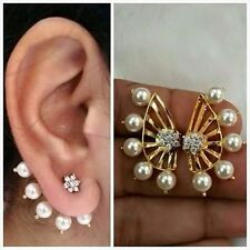 New Latest Indian Bollywood Designer 18K AD Pearl Earrings 2 Pc Gift Set