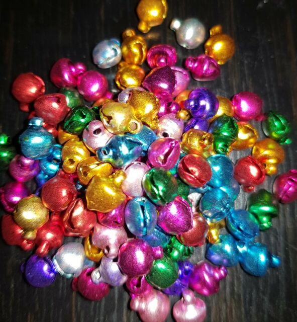 Approx 100 Small Assorted Colour Aluminium CHRISTMAS JINGLE BELLS Charms 6mm