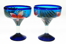 Mexican Margarita Glasses, hand blown, hand painted ORCHID design (2)