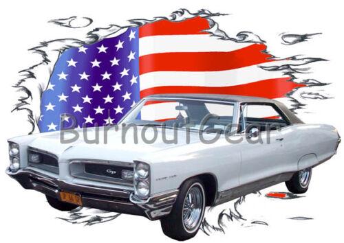 1966 White Pontiac Grand Prix Custom Hot Rod USAT T-Shirt 66 Muscle Car T