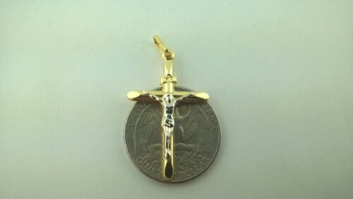 Cristo Italiano de oro de 14K Details about  /14K Solid Gold 2 Tone Italian Cross Very elegant