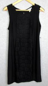 New-Christine-V-Womens-Size-Large-Dress-Black-Lace-Front-Stretch-Sleeveless-NWT