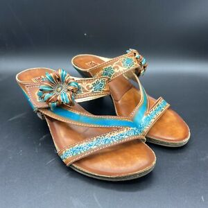 L-artiste-Womens-Brown-And-Blue-Leather-Sandals-Spring-Step-Shoe-Size-38