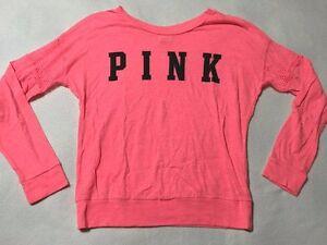 Victoria-039-s-Secret-Pink-XS-Neon-Fishnet-Sleeve-Band-Shirt-Black-Logo