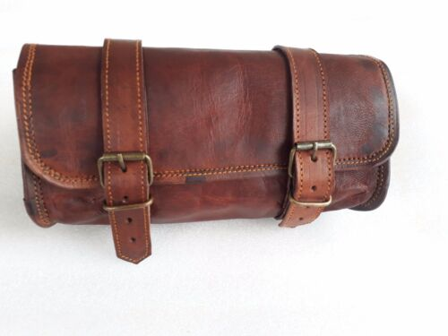 1 X Motorcycle Side Pouch Brown Leather Side Pouch Saddlebags Saddle Panniers 2 IN 1 1Bag