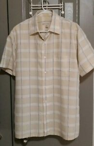 Pronto-Uomo-Men-039-s-Short-Sleeve-Button-Down-Dress-Shirt-Size-Large