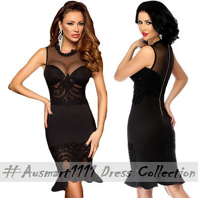 Black Insert Mesh High Neck Mermaid Style Skirt Sleeveless Little Party Dress