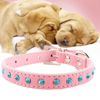 Pet Dog Cat Puppy Collars Rhinestones Leather Bling Crystal Buckle Adjustable TL