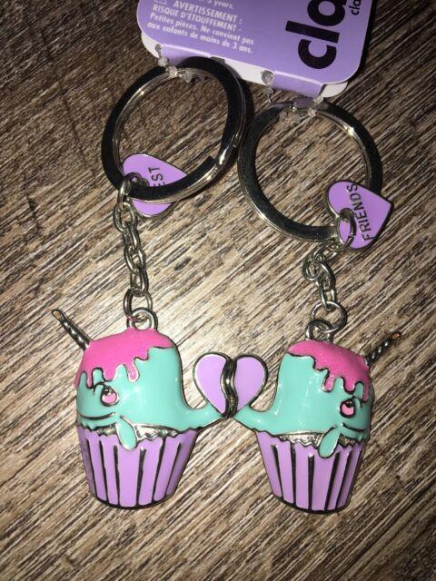 Key chain keychain Narwal unicorn Cupcake best friends Bff set Backpack Clip
