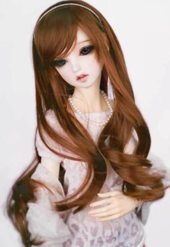 "1//3 8-9/"" BJD Doll Wig Auburn Brown Curly Curls Wavy Floppy Hair Long HUAL-t4"