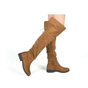 WOMANS KNEE HIGH FLAT BOOTS FAUX SUEDE ZIP SIDE OVER-THE-KNEE BOOTS COFFEE US 10
