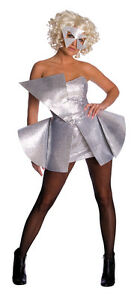 FANCY-DRESS-COSTUME-LADY-GAGA-SILVER-SEQUIN-DRESS-XS-6-8