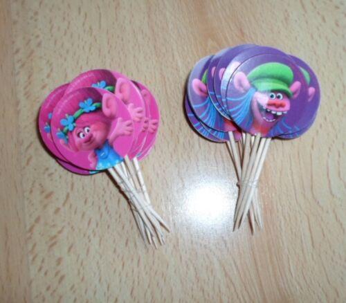 24 Deko Picker Disney Trolls Motiv Pink Lila Muffins Cupcakes Kindergeburtstag