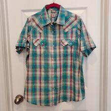 Wrangler Wrancher Green Button Up Pearl Snap Short Sleeve Western Shirt Size Xl