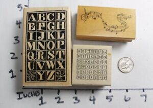 Wooden-RUBBER-STAMP-Lot-Alphabet-Letters-Music-Notes