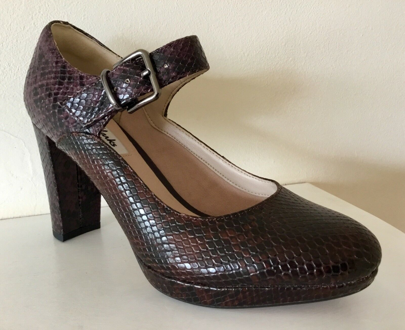 NEW CLARKS LEATHER PLATFORM COURT SHOES, SIZE 6D (EU 39.5) Kendra Gaby snakeskin