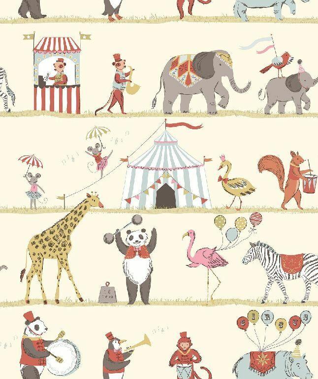 Essener Tapete Juste 4 Enfants 2 G56545 Cirque Animaux Éléphant Singe