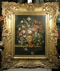 Dutch or Flemish Style Still Life Flower Bucket Magnificent Glold Frame