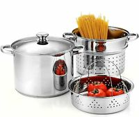 Cookware Kitchen Set 4 Piece Stock Pot Pan Soup Strainer 8 Qt Pasta Cook Steamer