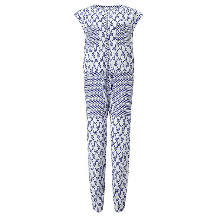 Somerset by Alice Temperley Rope Print Jumpsuit White bluee size 10