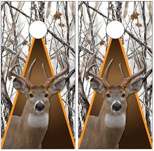 Whitetail Buck Deer Winter Snowstorm Camouflage Cornhole Board Decal Wrap Wraps