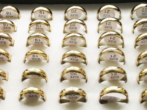 10 Edelstahl-Ringe 6mm gold - poliert - Gr. 17-22mm - TOP-Angebot