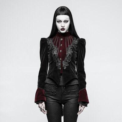 Punk Rave Black//Red Victorian Velvet Puff Sleeve Jacket Gothic Elegant Y-769
