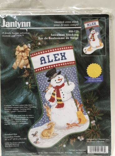 "Janlynn Christmas Stocking Kit Counted Cross Stitch Snowman Holiday 17"" NIP Vtg"