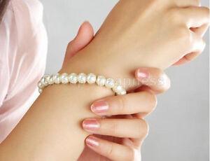 Womens-Glossy-8mm-Faux-Pearl-Beads-Stretch-Bracelet-Bangle-Wedding-STXG