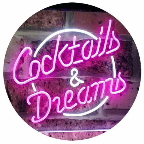Cocktails /& Dreams Bar Beer Wine Bar Dual Color Led Neon Sign st6-i2079