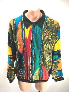 Fire knoops Sweater 3 Biggie Cosby Collared Australia Coogi Sz Vtg 90s Xl Neon UqPnxZ0Z