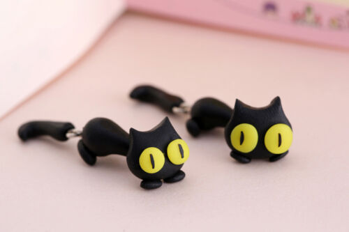 1 par Moda Joyería para mujeres 3D Gato Animal Arcilla Polimérica Aretes Pendientes Jp