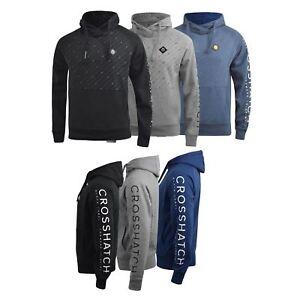 Mens-Hoodie-Crosshatch-Pullover-Degas-Hooded-Sweater-Jumper