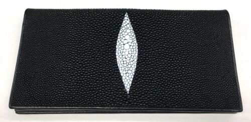 Genuine Real Stingray Leather Skin Trifold Cluth Checkbook Black Wallet Shiny