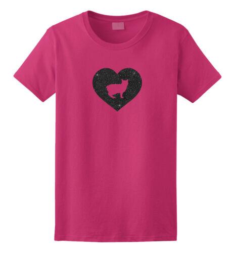 Men Women Ladies Female Youth Kids Manx Cat Silhouette Glitter Heart T-Shirt