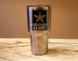 US-ARMY-YETI-Laser-Engraved-Colster-20-or-30-oz-Tumbler-MagSlide-Lid