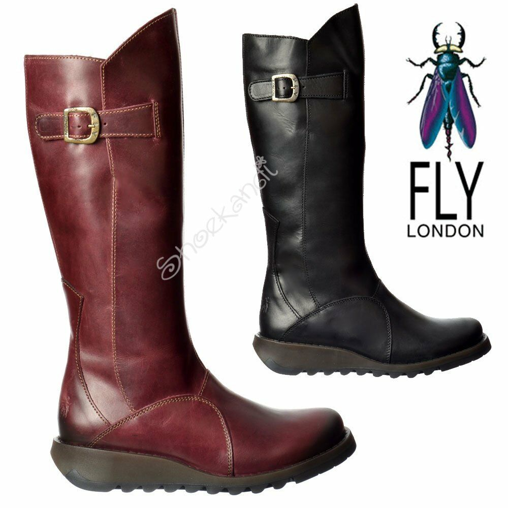 Femmes Fly London Mol 2 Hauteur Genoux Talon Bas Entièrement en Cuir Motard