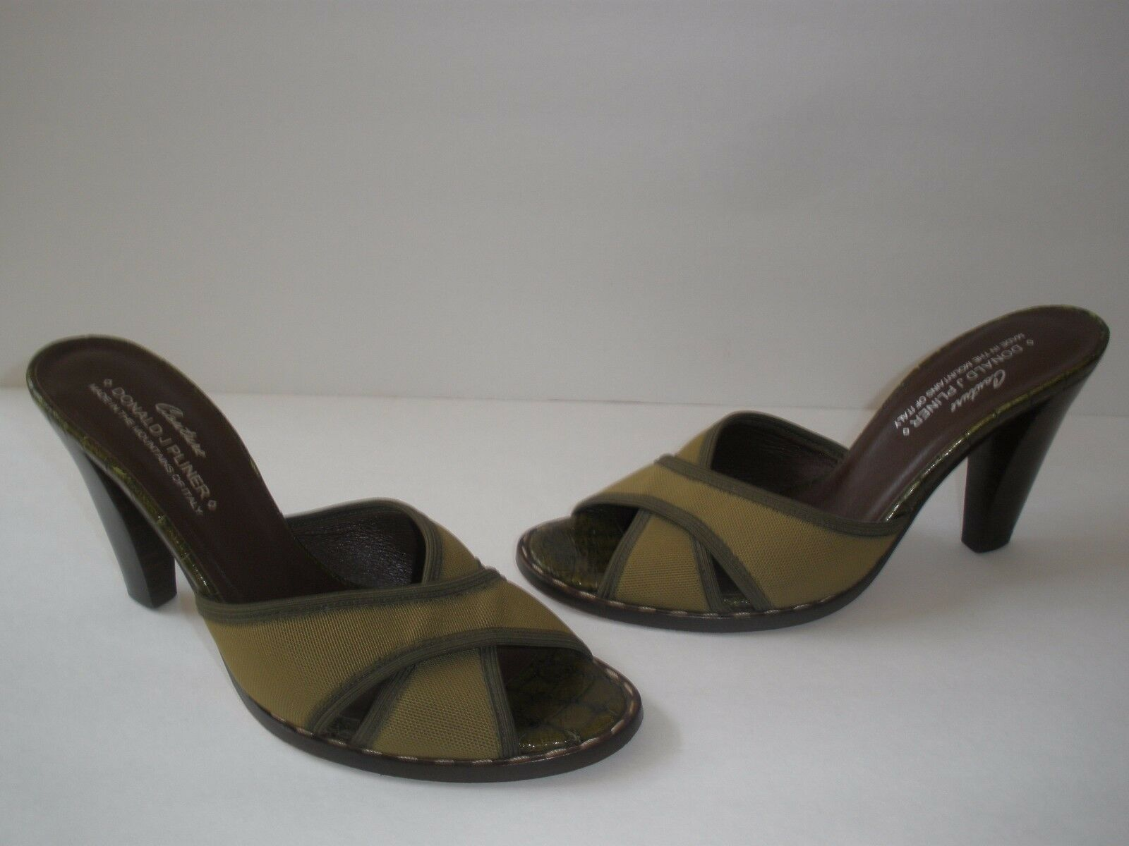 @ DONALD J.PLINER COUTURE LEATHER TEXTILE SANDAL 3 HEEL US 6 HOT MADE IN ITALY