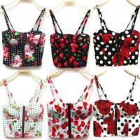 Fashion Women Tank Tops Bustier Bra Vest Zipper Flower Crop Top Bralette Blouse