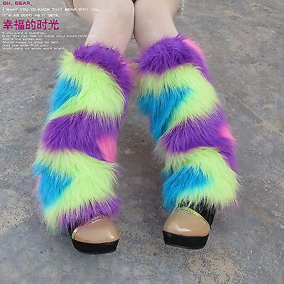 Women Fashion Rainbow Colorful Leg Warmer Winter Faux Fur Legging Boot Cover