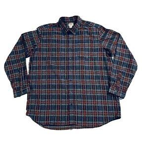 LL-Bean-Flannel-Gray-Scotch-Plaid-Long-Sleeve-Button-Shirt-2XL-XXL-TALL-Thick