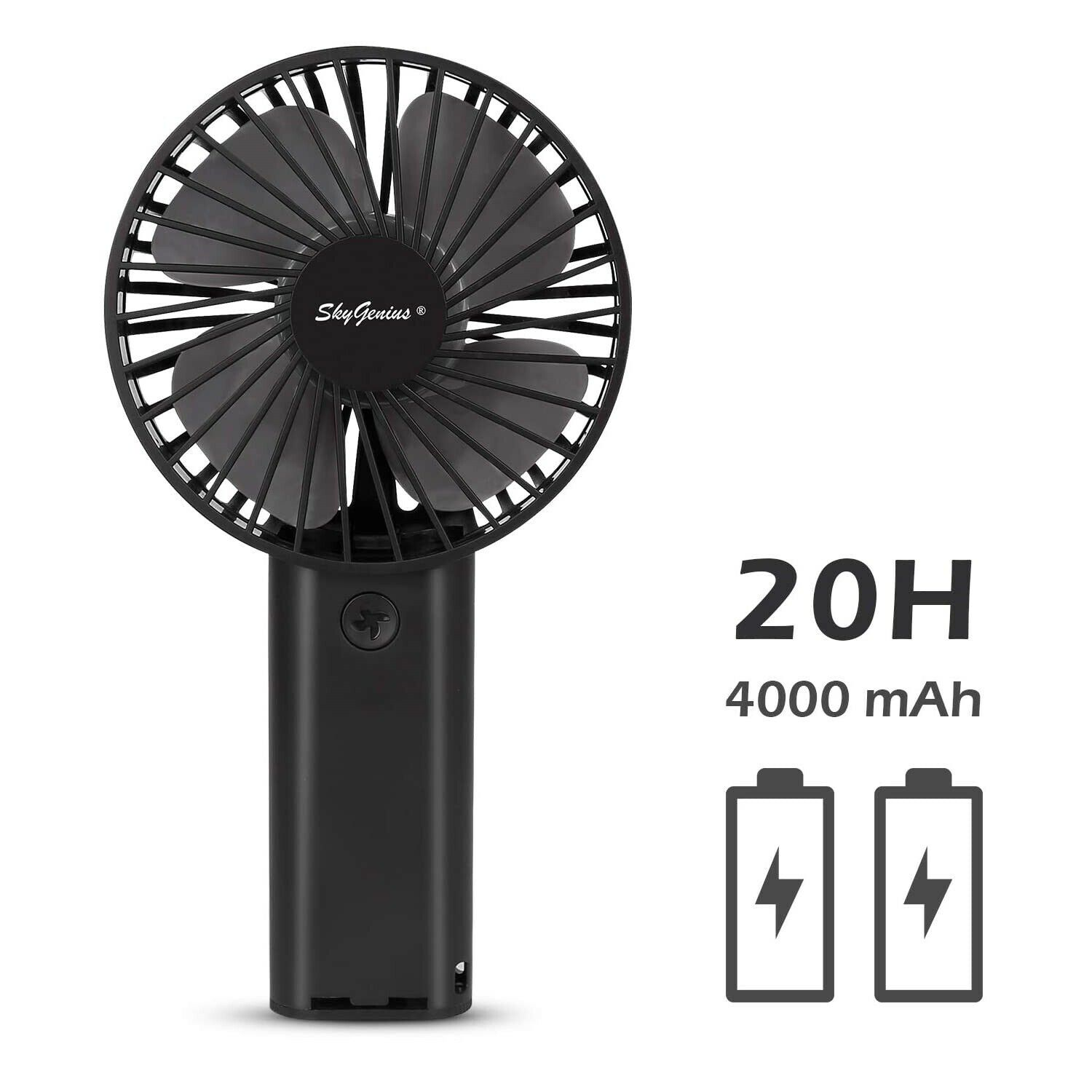 Black ZhiXu Mini Handheld Fan Portable Fan,USB 4000mAh Battery Operated Rechargeble Hand Held Fan,8-18 Working Hours with 3 Speed Adjustable for Home Office Traveling