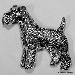 Airedale Terrier Zinn Brosche Britisch Hand Gefertigt- Draht Fox Schnauzer