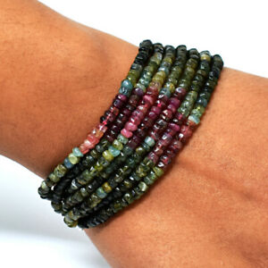 "192.00 Cts Earth Mined 7"" Long Watermelon Tourmaline Beads Bracelet JK-48E288"