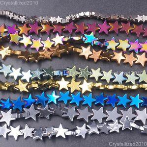 Natural-Hematite-Gemstone-Flat-Star-Beads-6mm-8mm-10mm-Black-Silver-Gold-16-034
