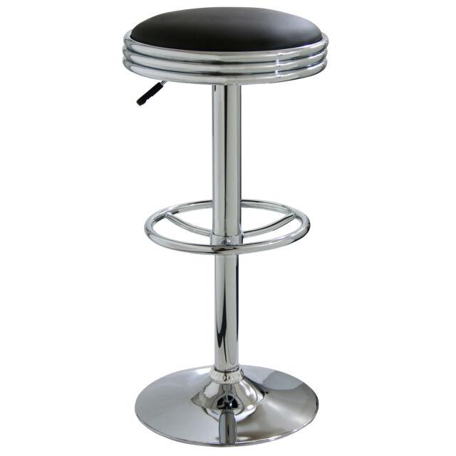 Outstanding Amerihome Adjustable Height Chrome Swivel Cushioned Bar Stool Black Creativecarmelina Interior Chair Design Creativecarmelinacom