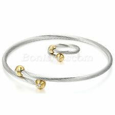 Women Adjustable Stainless Steel Open End Twisted Bangle Cuff Bracelet Ring Set